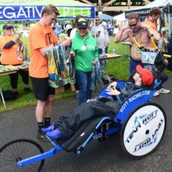 Rider Athlete Receiving Race Medal after Coeur d'Alene Marathon