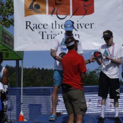 Awards during Race the River Triathlon 2019