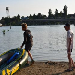 Team Members, Water Raft Preparing for Portion of Race