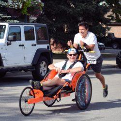 Runner Athlete Racing with Rider Athlete