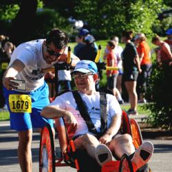Runner Athlete Taking Photo with Rider Athlete